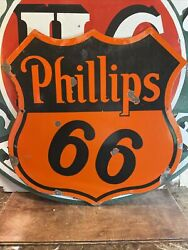 Original And Authentic And039and039phillips 66and039and039 Porcelain Dealer Advertizing Sign 30x30 In.