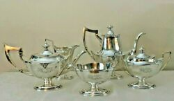 1920 West Point Us Military Academy Gorham 5-pc Sterling Silver Coffee And Tea Set