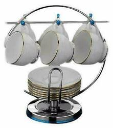 Stainless Steel Cup And Saucer Stand, Silver Color