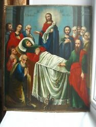 Dormition Mother Of God Russian Orthodox Icon 19c. - Large 52 42 2.5 Cm.