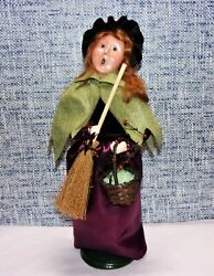 Byers Choice 2012 Witch With Broom And Bat Lights 13 Tall Signed