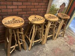 Angry Orchard Hard Cider Primitive Wood Lot Of 4 Bar Stools Originated In 2012