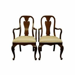 Set Of 2 Davis Cabinet Solid Cherry Traditional Queen Anne Style Dining Arm C...