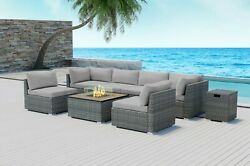 Modenzi 8pcs Grey Wicker Outdoor Patio Furniture With Square Fire Pit Light Grey