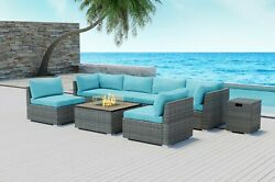 Modenzi 8pcs Grey Wicker Outdoor Patio Furniture With Square Fire Pit Turquoise