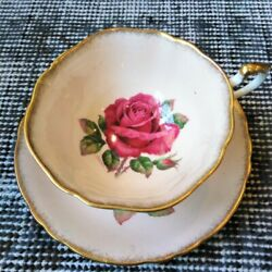 Paragon R. Johnson Hand-painted Square-shape Teacup And Saucer Red Cabbage Rose
