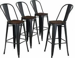 26 Inch Bar Chairs Set Of 4 Low Back Counter Height Bar Stools Dining Furniture