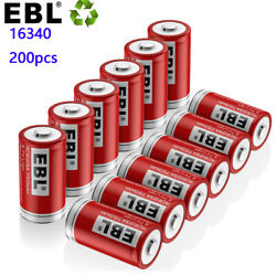 200x Ebl Rcr123a 16340 Li-ion Rechargeable Battery Batteries For Security Camera