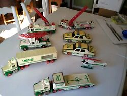 Vintage 1990's Hess Toy Vehicles Trucks Fire Engine Helicopter Police Car