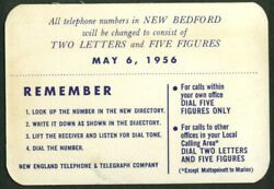 New England Telephone And Telegraph New Bedford Exchange Change Card 1956