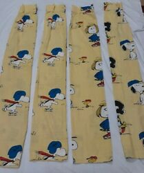 Vintage Peanuts Snoopy Charlie Brown Linus And Lucy Curtains 4 Panels 1972