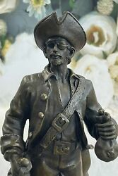 Signed Original Pirate With Jewelry Chest And Sword Bronze Sculpture Statue Deal
