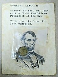 Abraham Lincoln 1864 Campaign Token Pre-owned W/ Free Shipping