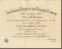 New England Telephone And Telegraph Bell System Retirement Certificate 1957