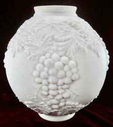 Consolidated Glass Lamp Shade Embossed Grapes And Leaves White Satin Pink Cased O2