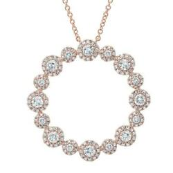 Diamant Cercle O Halo Pendentif Collier 14k Or Rose Rond Naturel Coupe 1.14ct