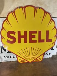 Die-cut Large Vintage ''shell'' Double Sided 30 Inch Porcelain Sign W/ Bracket