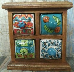 Vintage Wooden Tea ,coffee And Jewelry Old Box Wood Hand Carved Cabinet Drawers