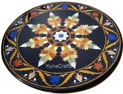 Round Marble Restaurant Table Floral Pattern Dining Table Top For Lawn 36 Inches