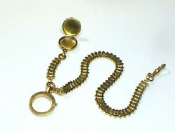 Antique 18k Yellow Gold Pocket Watch Chain With Locket Large Clasp 10.5 26.6gm