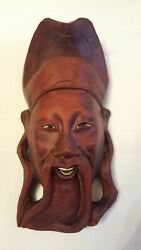 Vintage Oriental Japanese Chinese Wooden Carved Man Face Mask/ Figure