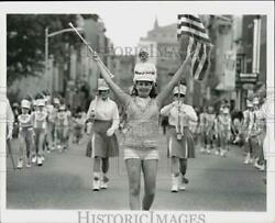 1967 Press Photo Drum Majorette Leads Band In Columbus Day Parade, New Jersey