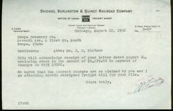 Chicago Burlington And Quincy Rr Letter Nampa Creamery Id Acknowledges Check 1952
