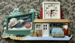 Vintage 1990 Coca Cola Clock Route 66 Gas Station Coke Wall Hanging Burwood 3130