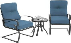 Indoor/outdoor 2 Bistro Style Chairs With Table 3piece Black And Blue Patio Set