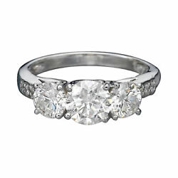 1.95 Ct D/si1-si2 Womenand039s Round 3 Stones Diamond Engagement Ring 14k White Gold
