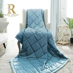Royal Therapy Weighted Blanket - Heavy 100 Cotton Blankets With Premium Glass B
