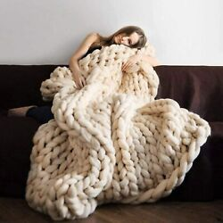 Hand-made Knit Acrylic Blanket Chunky Bulky Chunky Blanket Super Large Pet Bed C