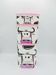 Tupperware Rare Limited Edition Moo Moo Cow Canister Set Pink 2.1l 1.3l And 500ml