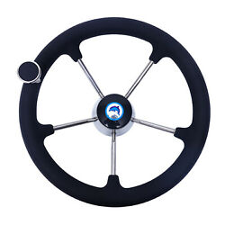 Stainless Steel 13-1 / 2 Boat Steering Wheel 5 Spokes With Nut Tapered Knob