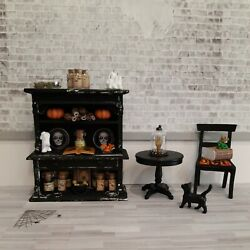 Dollhouse Miniatures 112 Halloween Cupboard Table Chair And More Artist Made