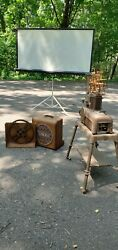 Ampro Premier 20 Antique Projector With Speaker, Stand, And Collapsible Screen