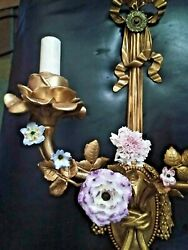 22 E.f. Caldwell Bronze Porcelain Floral Wall Sconces Signed Fine Pair Early