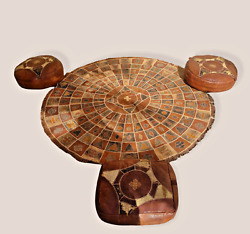 Vintage Handmade African Tuareg Leather And Snakeskin Round Tribal Rug + Pouffes