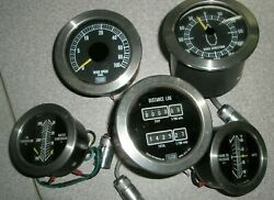 Lot Of 5 Telcor Boat Marine Gauges Excellent Condition Engine Wind Distance