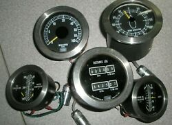 Lot Of 5 Telcor Boat Marine Gauges, Excellent Condition Engine, Wind, Distance