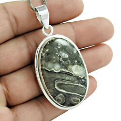 Oval Shape Cornold Fossil Gemstone Pendant 925 Sterling Silver Jewelry G48