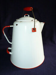 """Large White Red Enamel Ware Coffee Pot With Lid Carrying Handle 12"""" Tall"""