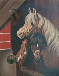 Antique Horse Rooster Oil Portrait Painting Ca. 1900 Great Frame Unsigned 24