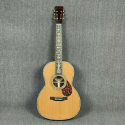 Zuwei Acoustic Guitar Md00045 Solid Red Spruce Top Abalone Inlay Gold Hardware