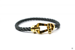 Used Fred Large Model 750/1000 Yellow Gold Grey 19.5 Bracelet Authentic Nwt