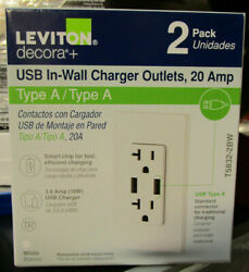 Leviton 20 Amp Decora Combination Duplex Outlet And Usb Charger White