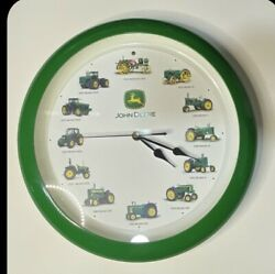John Deere Tractor Clock With Sounds On The Hour And Toy Tractor Set