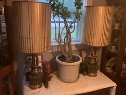 Pair Of Stiffel Brass Table Lamps W/ Original Shades 1950's-1960's