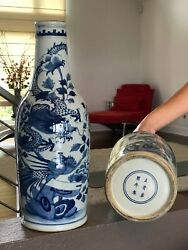 Chinese Antique Blue And White Large Vase 1 Pair 16 H Md394