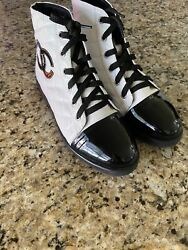 Women's Black/white Quilted High Top Sneakers Shoes Size 38 Eu 7.5 Us